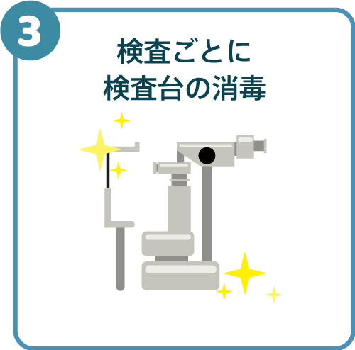 検査ごとに検査台の消毒