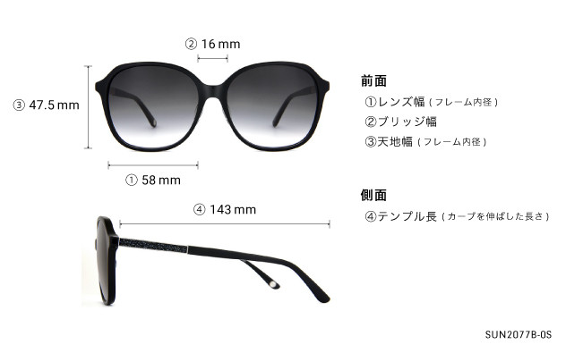 Sunglasses OWNDAYS SUN2077B-0S  ブラック
